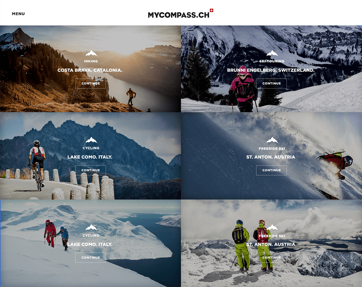 myCompass Outdoor & Adventure blog - Web Design & Brand Identity - Blog Grid