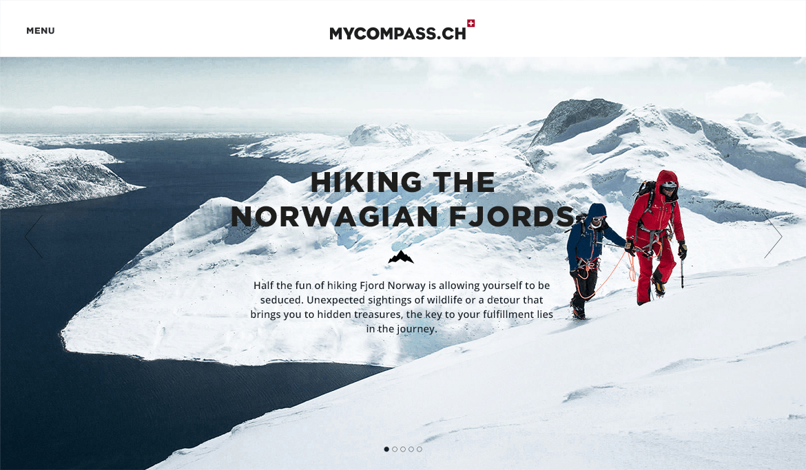 myCompass Outdoor & Adventure blog - Web Design & Brand Identity - Home page